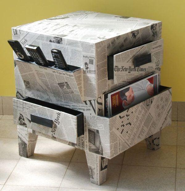 manualidades-con-papel-de-periodico-muebles