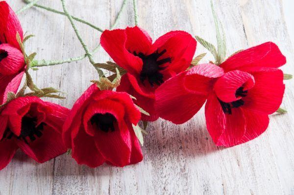 Flores papel crepe pequeñas