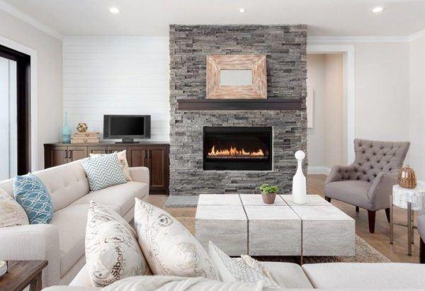 Paredes piedra  chimenea minimalista