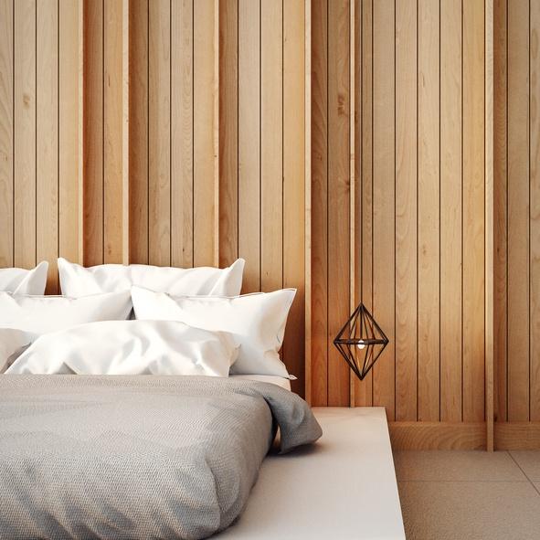 Revestimiento paredes interiores  dormitorio madera