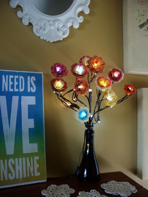 Manualidades con luces LED flores