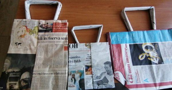 Ideas de manualidades con papel de periodico bolsas