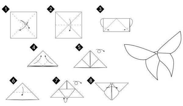 Papiroflexia ninos origami mariposa