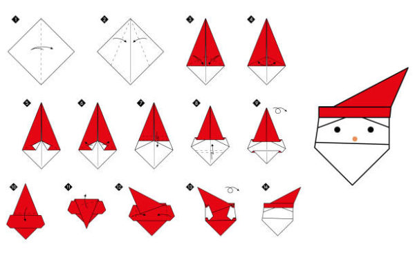 Papiroflexia ninos origami papa noel