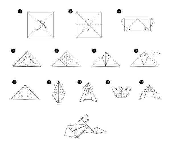 Papiroflexia ninos origami rana