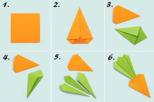 Papiroflexia ninos origami zanahoria
