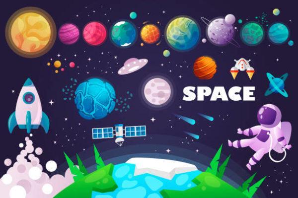 Dibujos sistema solar cohete