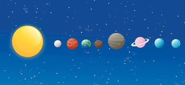 Dibujos sistema solar sencillo