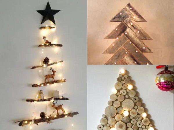 árboles de navidad con madera