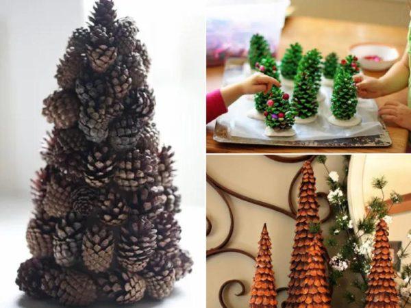 árboles de Navidad con Piñas