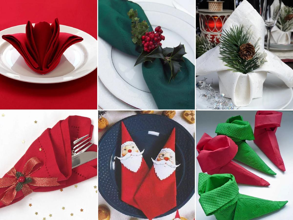 doblar las servilletas para Navidad