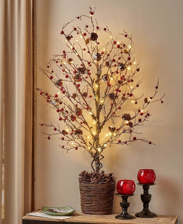 Como hacer arbol navidad ramas secas con bolitas rojas y luces