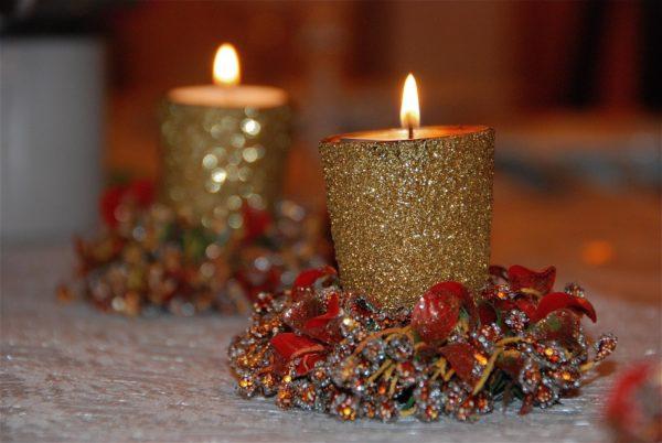 Mejores manualidades con purpurina velas navidad