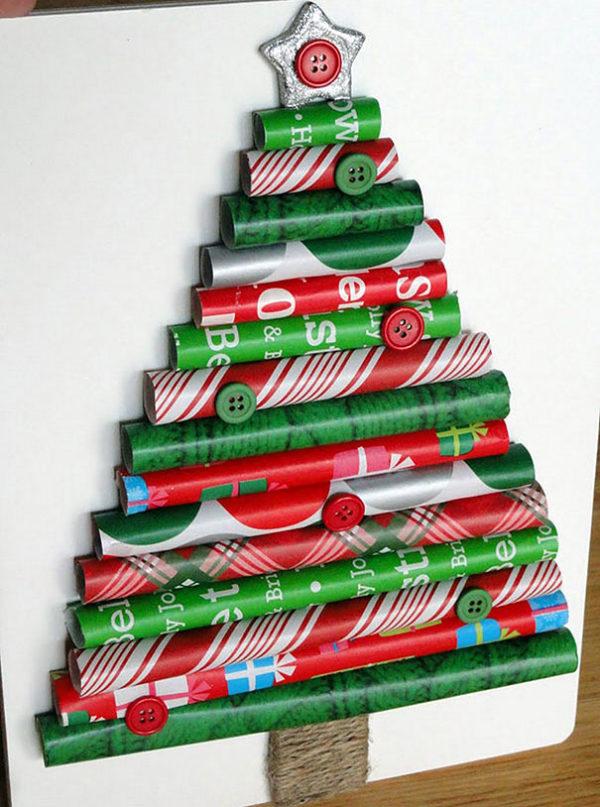 Arboles navidad reciclados papel regalo