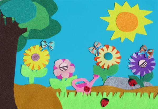 Manualidades para niños dia del arbol paisaje natural con fieltro