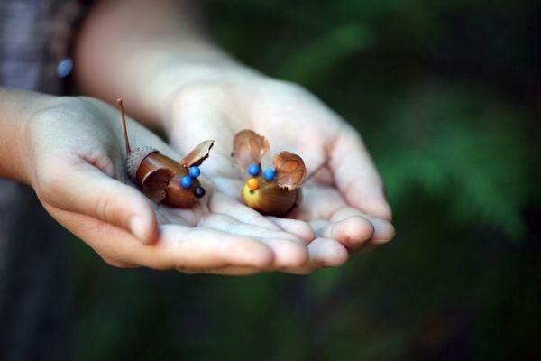 Manualidades para niños dia del arbol ratones de bellotas