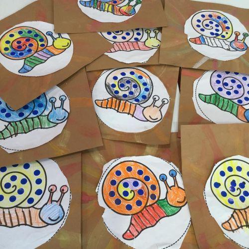 Manualidad dibujo de caracoles