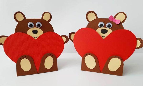 Postales de corazón con oso
