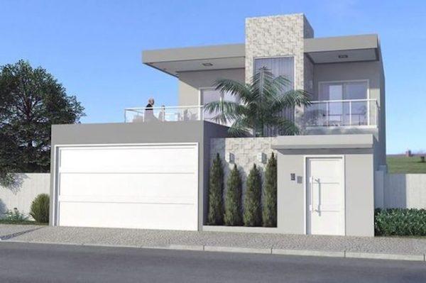 Ideas consejos para hacer fachada casa MODERNA Fachada moderna con combinación de color gris y blanco