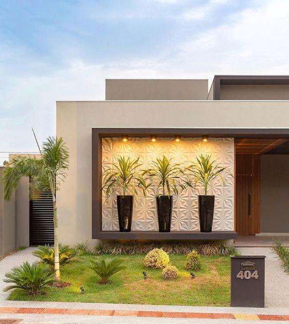 Ideas consejos para hacer fachada casa MODERNA fachada de casa moderna en color gris con panel 3D y madera