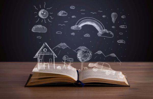 Actividades para celebrar el dia del libro con ninos libro abierto con paisaje dibujado