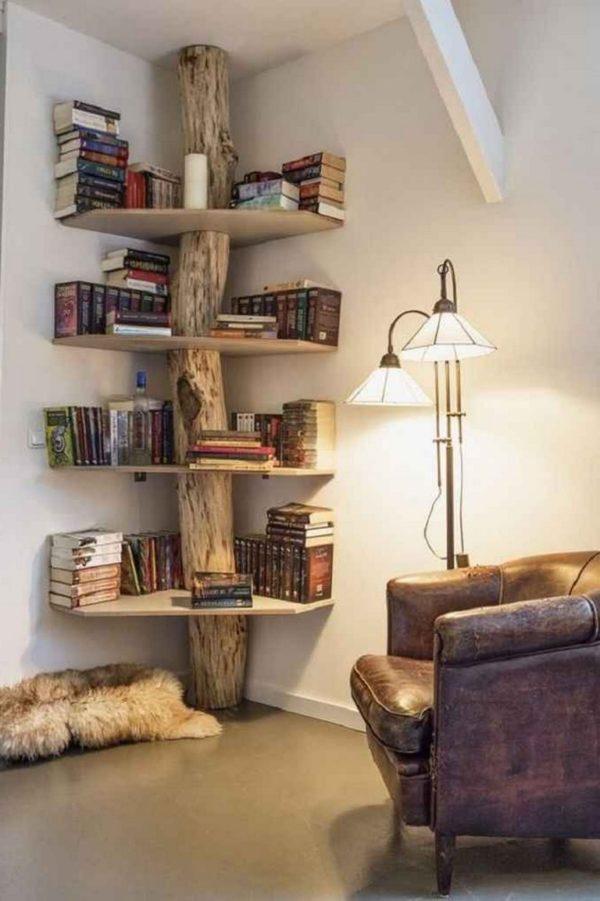 Ideas consejos para hacer muebles rusticos con madera FOTOS estante tronco