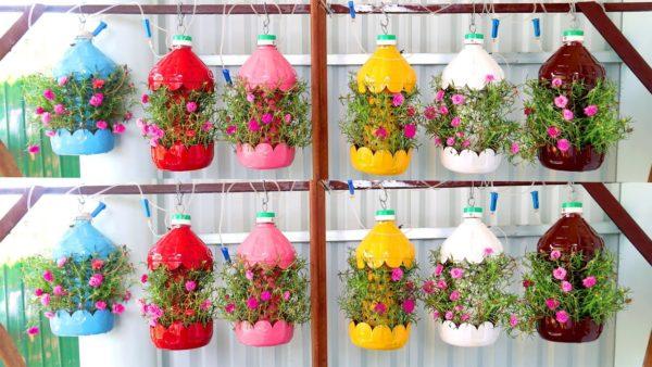 Ideas para hacer macetas con garrafas de agua colores colgantes