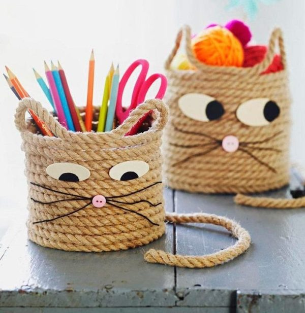 Mejores manualidades dia internacional gato portalapices cuerda