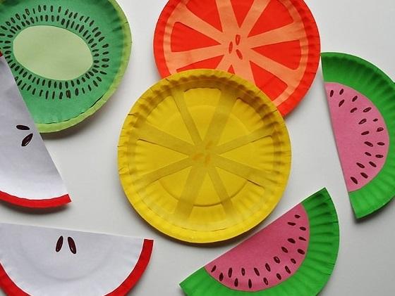 Manualidades faciles de verano para ninos FOTOS frutas plato carton