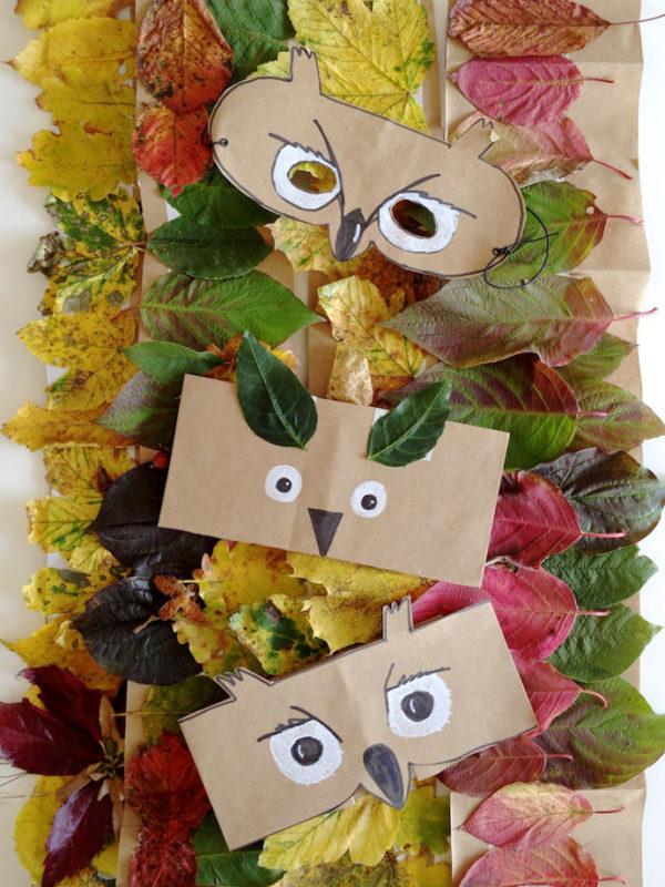 Las mejores manualidades con materiales reciclados para niños de 3 años máscaras búho