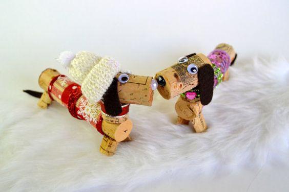 Ideas y consejos para hacer animales con corchos para niños pareja de perros