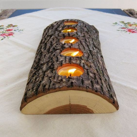 Las mejores ideas y consejos para decorar tu casa sin mucho dinero portavelas tronco