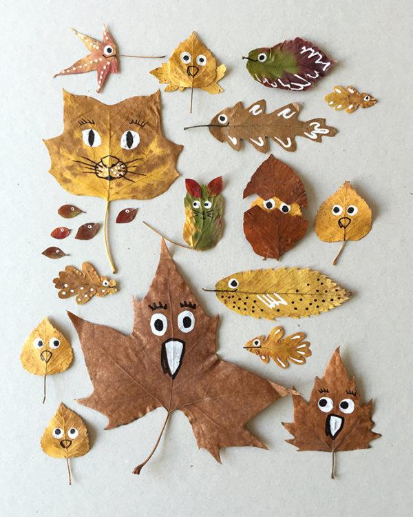 20 ideas para hacer manualidades con hojas secas de los árboles animales caras