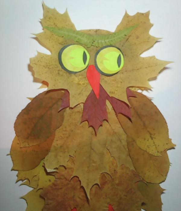 20 ideas para hacer manualidades con hojas secas de los árboles búho