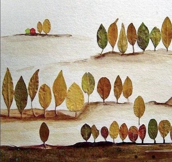 20 ideas para hacer manualidades con hojas secas de los árboles hilera