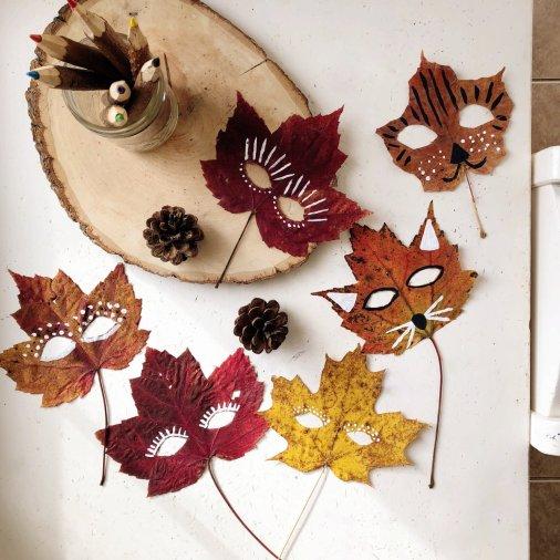 20 ideas para hacer manualidades con hojas secas de los árboles máscaras