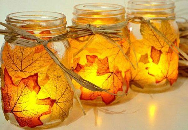20 ideas para hacer manualidades con hojas secas de los árboles vela