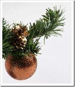 Bauble hanging on greenery sprig