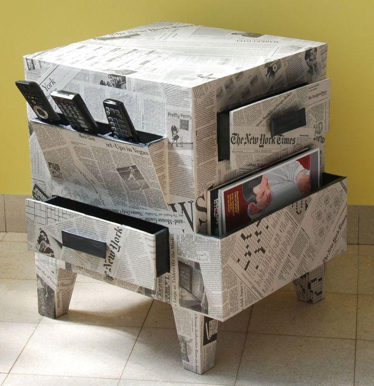 Manualidades con papel de periodico muebles manualidades - Muebles de papel ...