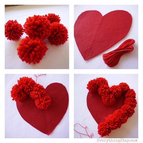 Pom-Pom-corazon san valentin