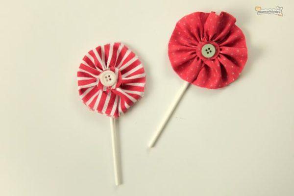 flores de tela cupcakes