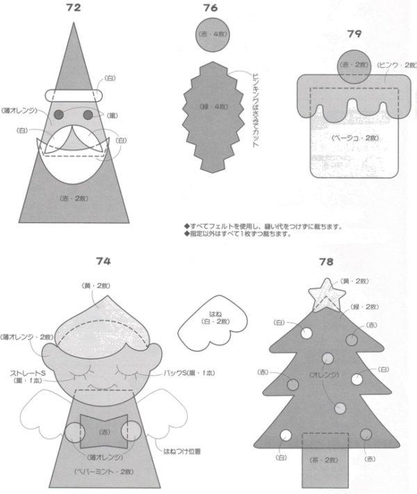Adornos de Navidad de fieltro 2019 - Manualidades