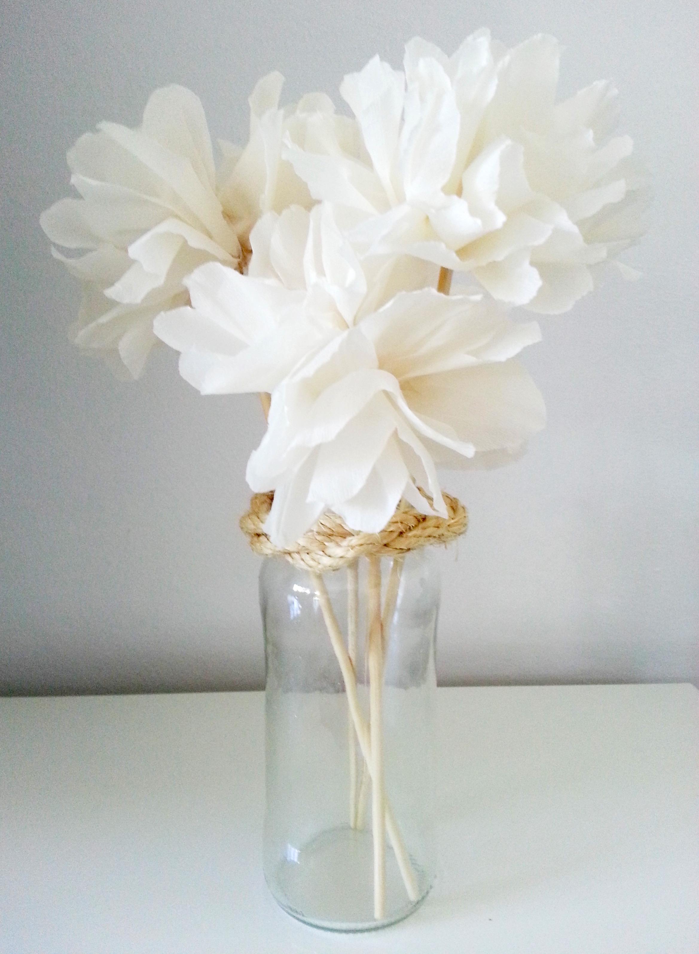 Flores papel crepe jarron manualidades - Como hacer jarrones de papel ...