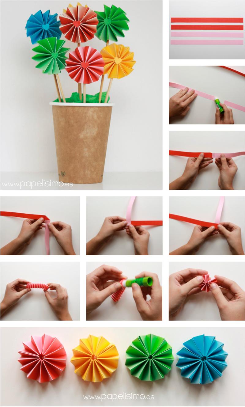 Como hacer flores de papel paso a paso manualidades - Manualidades para decorar el hogar paso a paso ...