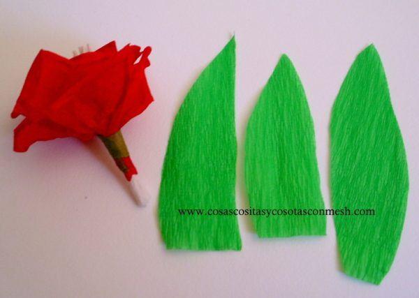 y con estos sencillos pasos hemos acabado una rosa roja adornada con unas bonitas hojas en el tallo si queris decorar algo ms vuestra rosa y darla un