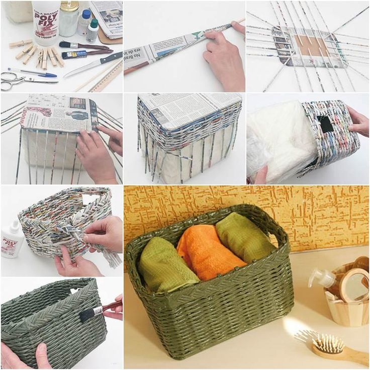 C mo decorar cestas de mimbre con materiales reciclados manualidades - Hacer cestas con papel de periodico ...
