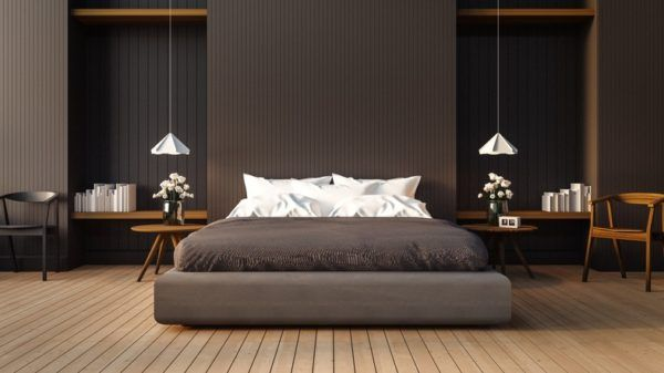 Revestimiento paredes interiores dormitorio madera oscura