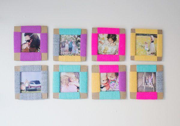 Como hacer los mejores marcos de foto con cartulinas con lana